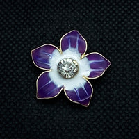 18mm Gold Tone Flower Snap with Purple and White Enamel
