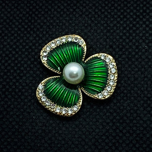 18mm Gold Tone Flower with Green Enamel and White Pearl in Center