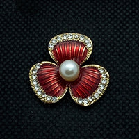 18mm Gold Tone Flower Snap with Red Enamel and Pearl in Center