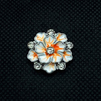 18mm Flower Snap White and Peach Enamel with Rhinestones