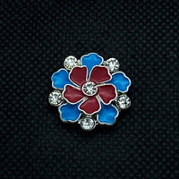18mm Flower Snap Red and Blue Enamel with Rhinestones
