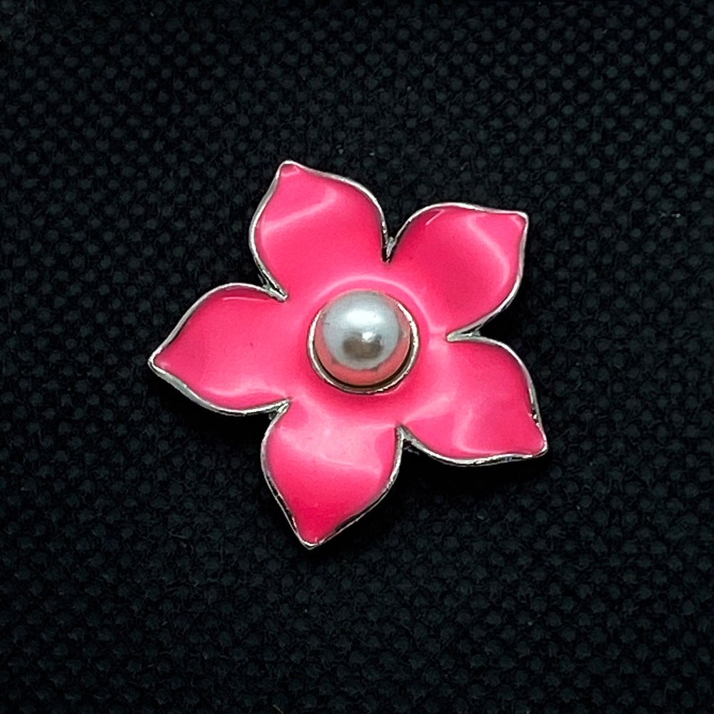 18mm Flower Snap Hot Pink Enamel with Pearl Center