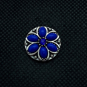 18mm Silver Tone Flower Snap with Dark Blue Resin Petals