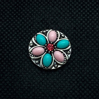 18mm Silver Tone Flower Snap with Pink and Blue Resin Petals