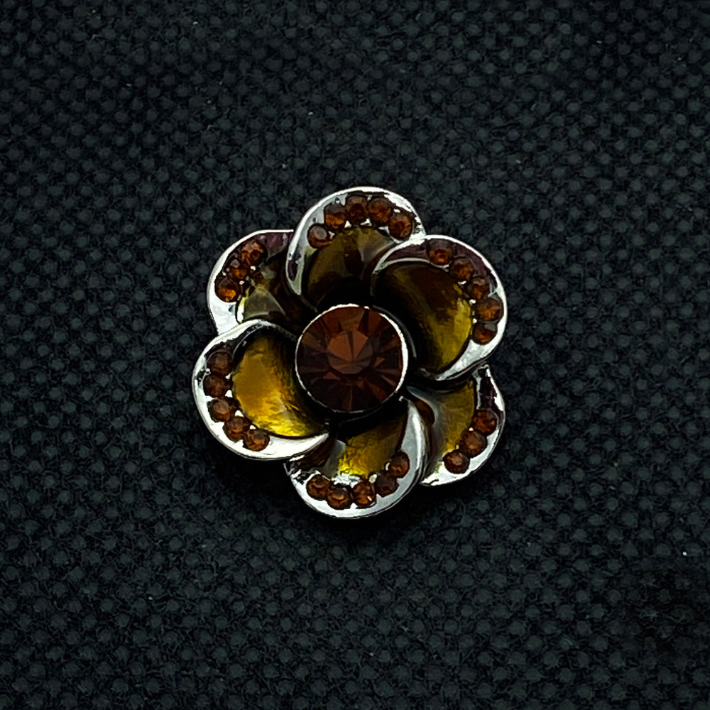 18mm Brown Enamel Flower Snap with Brown Crystal Center