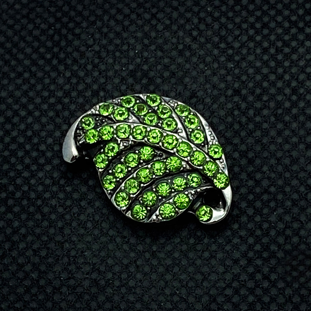 18mm Green Rhinestone Leaf Snap