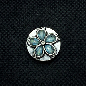 18mm Silver Tone Flower Snap with Opalescent Crystal Petals