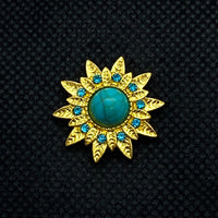 18mm Gold Tone Sunflower Snap with Blue Rhinestones and Turquoise Color Stone