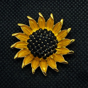 20mm Sunflower Snap with Black Rhinestone Center