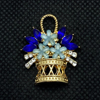 18mm Gold Tone Flower Basket Snap with Light and Dark Blue Crystal Flowers