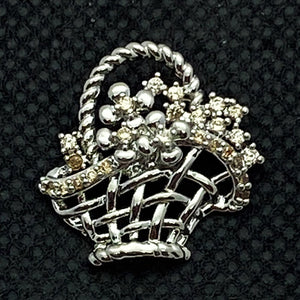 18mm Silver Tone Flower Basket Snap with Light Pink Bling