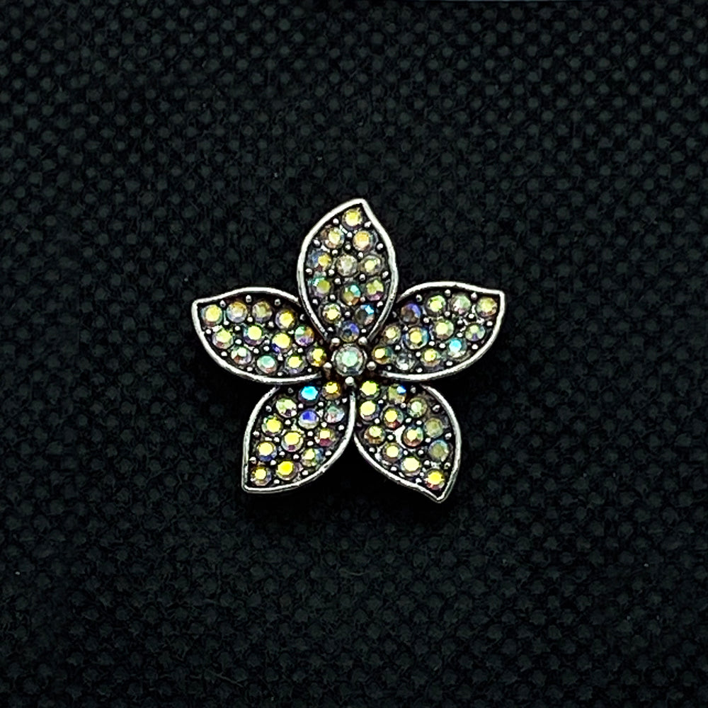 18mm Silver Tone Flower Snap with Iridescent Bling