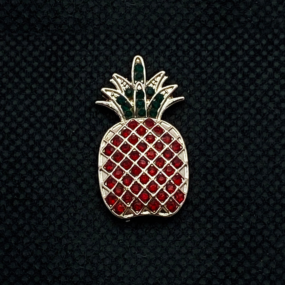 18mm Rose Gold Pineapple Snap with Red and Green Bling