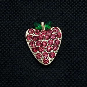 20mm Rose Gold Strawberry Snap with Red Rhinestones