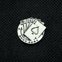 18mm Snap Silver Tone Poker Hand