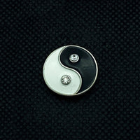 18mm Yin Yang Snap with White Rhinestones