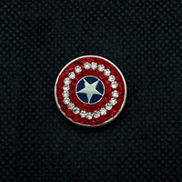 18mm Captain America Snap with Red and White Rhinestones