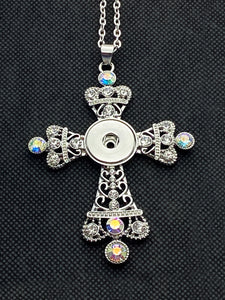 Large Cross Necklace with Large Iridescent Rhinestones for 18mm Snaps