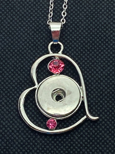 Necklace with Heart Shaped Pendant with Pink Rhinestones for 18mm Snaps