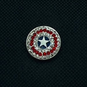 18mm Captain America Snap with White and Red Rhinestones