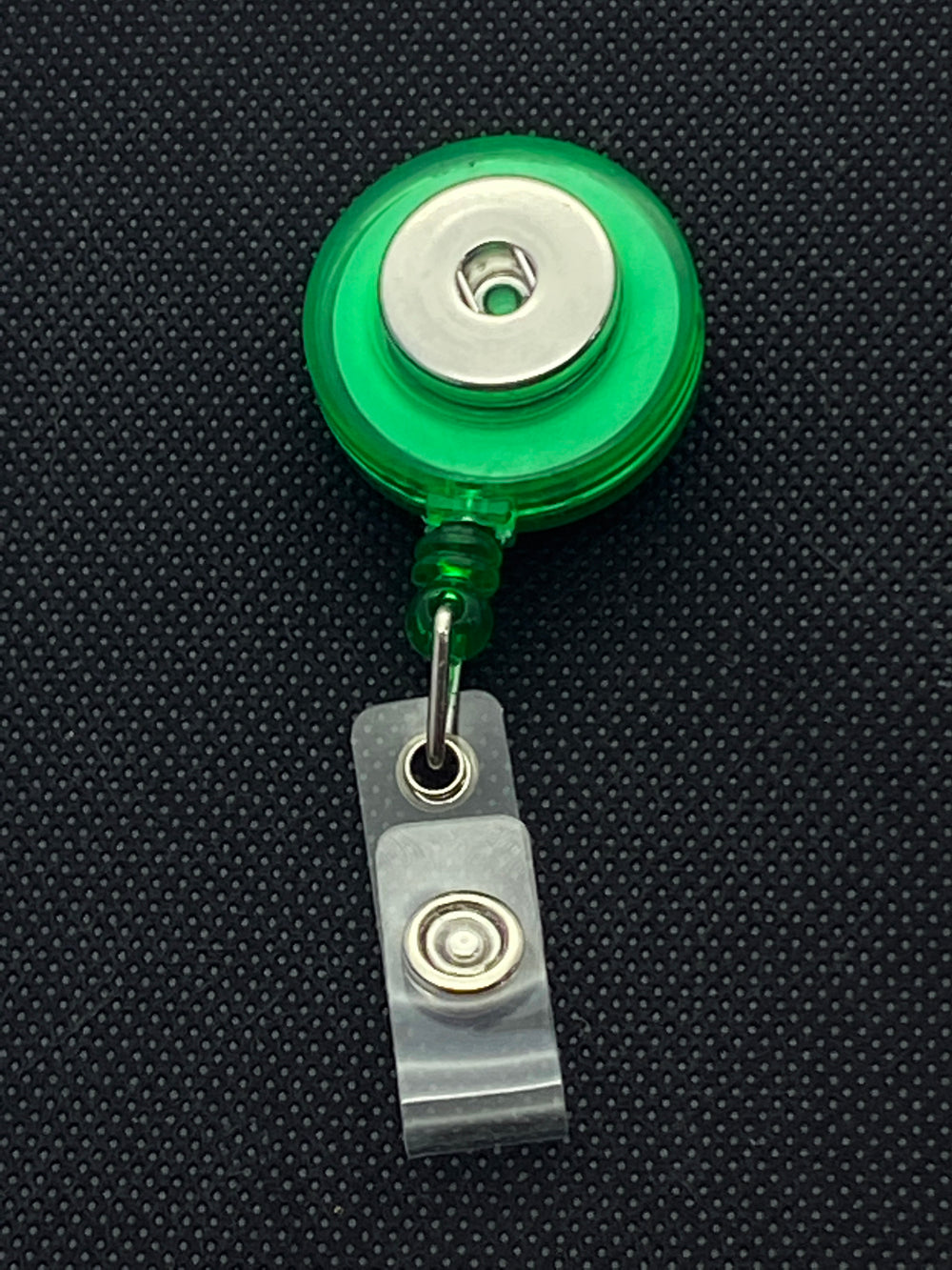 Green Retractable Lanyard for 18mm Snaps