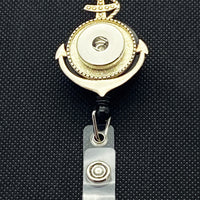 Silver Tone Anchor Retractable Lanyard for 18mm Snaps
