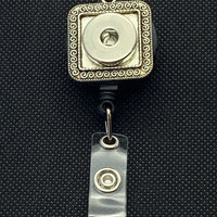 Silver Tone Square Vintage Retractable Lanyard for 18mm Snaps