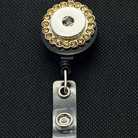 Silver Tone Retractable Lanyard Pendant with Amber Rhinestones for 18mm Snaps