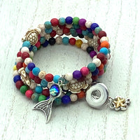 SPECIAL ORDER Handmade Memory Wire Bracelet with Mermaid Tail Bangle and Starfish Bangle for 18mm Snaps
