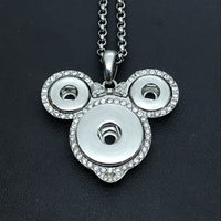 Silver Tone Mouse Head Pendant with White Bling on a Chain Necklace for 18mm and 12mm Snaps