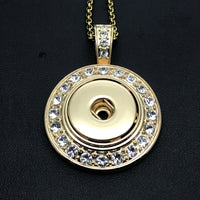 Necklace with Round Pendant with Rhinestones for 18mm Snaps