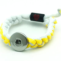 Braided Shoelace Bracelet for 18mm Snaps
