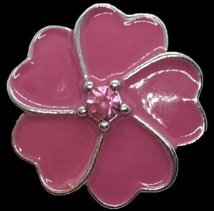 18mm Pink Flower Snap with Pink Rhinestone Center