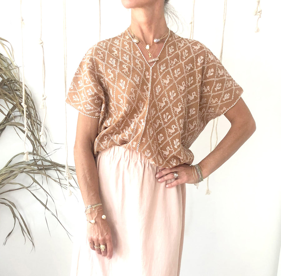 Huipil Blouse - Beige  30% OFF AT CHECKOUT - $140