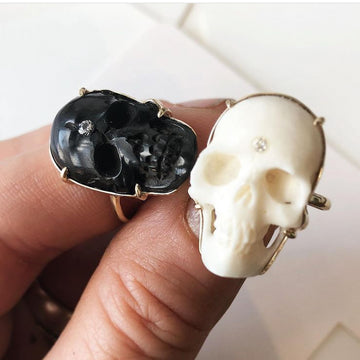 Custom Black Skull Ring with Diamond