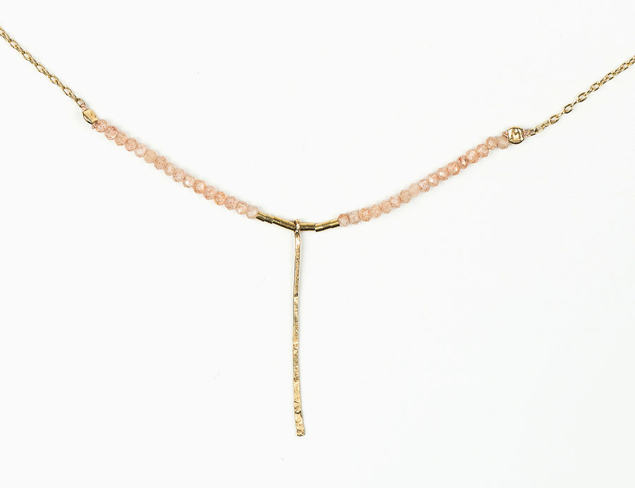 Drift Peach Moonstone with Pin Necklace