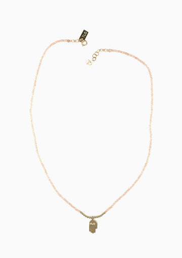 Drift Hand on Peach Moonstone Necklace