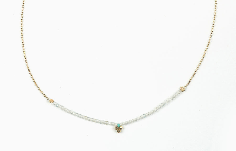 Drift Flower White Topaz Necklace