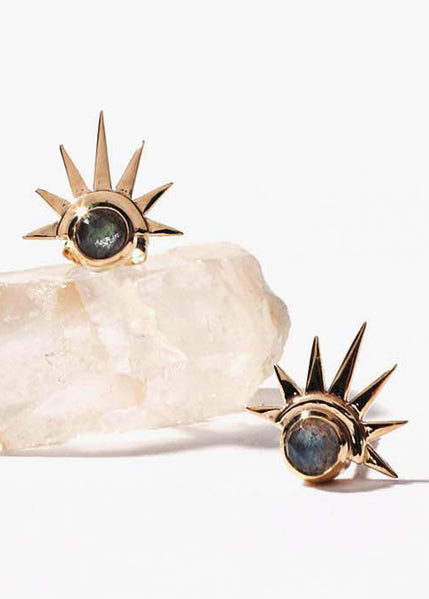 Sister Sun 14k Stud Earrings with Labradorite