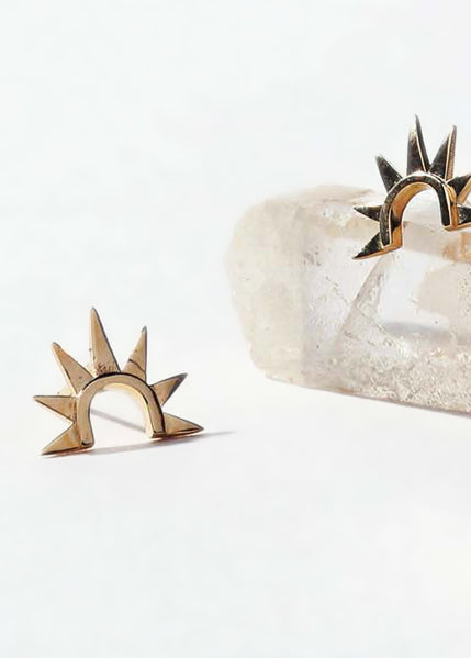 Sister Sun 14k Plain Stud Earrings