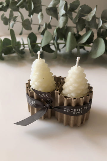 Medium Pinecone Candles -  Cream