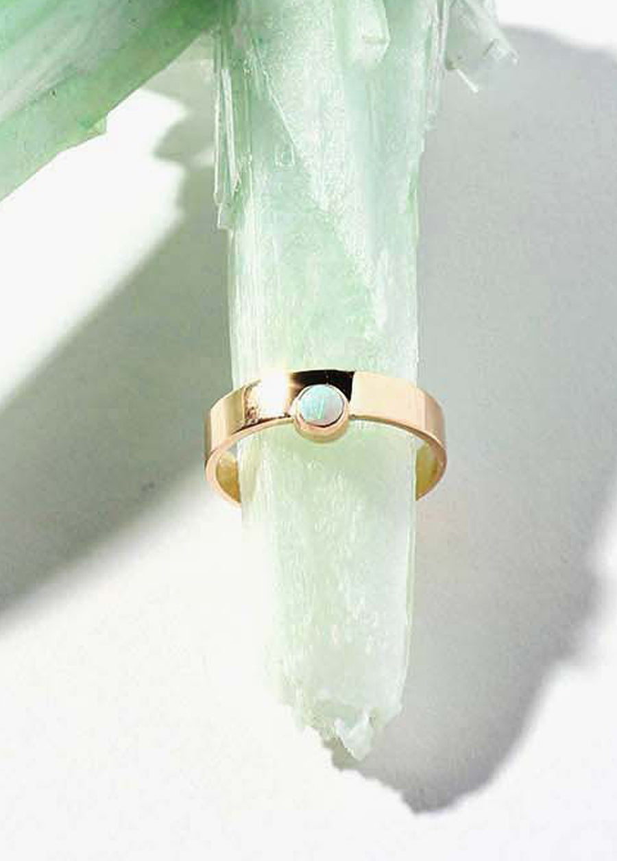 Sister Sun 14k Ring Band with Opal