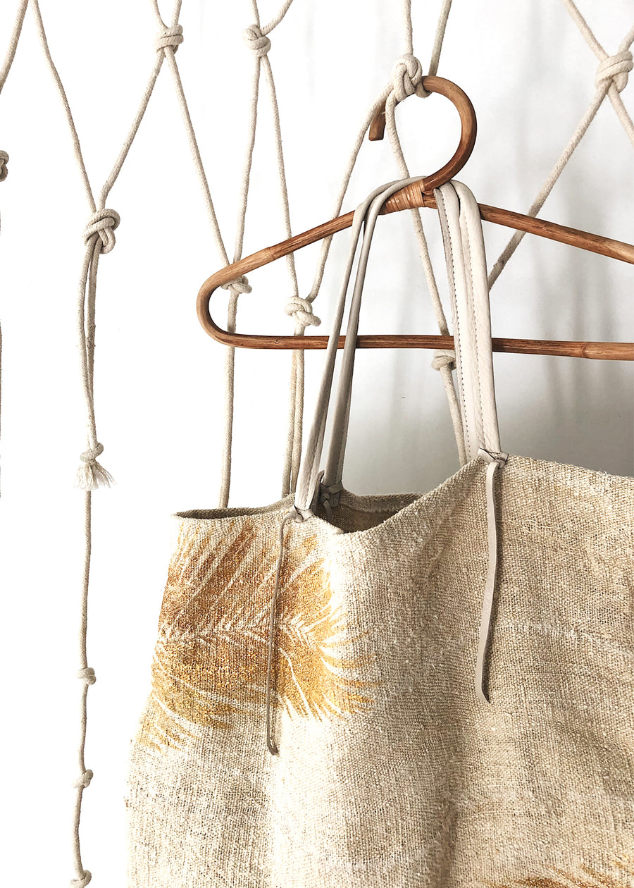 Golden Palm Summer Tote by Totem Salvaged  30% OFF AT CHECKOUT - $168