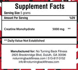 Creatine Monohydrate Powder (Micronized) 60 Servings - No Turning Back Fitness