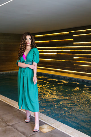 Green Maxi Kaftan for beach holidays