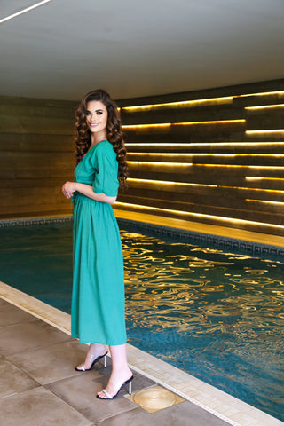 Summer MAxi Wrap Dress/Kaftan for beach holidays in green colour