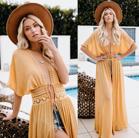 Yellow Beach Kaftan Maxi Wrap Dress
