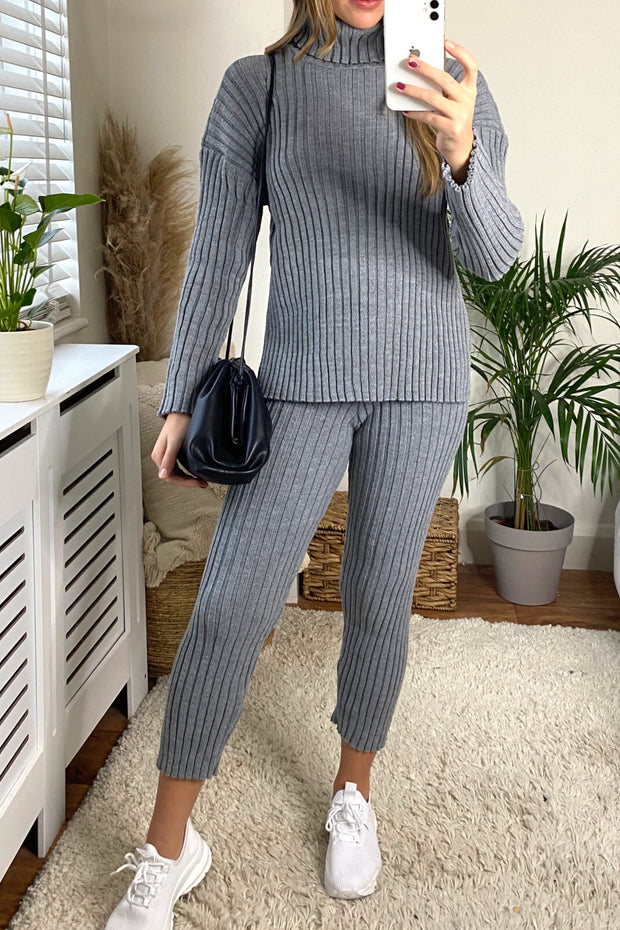 Knitted Ribbed Loungewear Co Ord Set in Grey