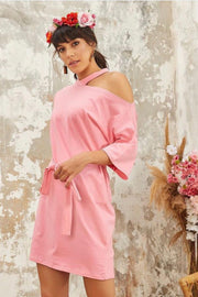 Wrap Summer Dress in Pink Colour - jqwholesale.com