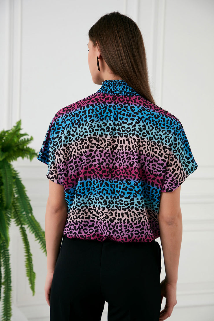 High neck Leopard print Top in Multi colour - jqwholesale.com
